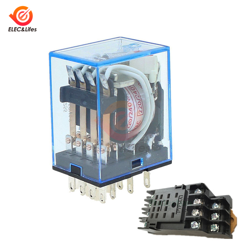 DC 12V 24V AC 220V MY4NJ Mini Electromagnetic Relay Copper Coil General Micro Switch Power Supply Relay PYF14A 14pin Socket Base