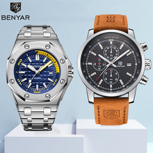 Watch Men Set BENYAR Watches Mens 2019 Quartz Chronograph Sport Watch Top Brand Luxury Military Male Watches Clock Reloj Hombre все цены