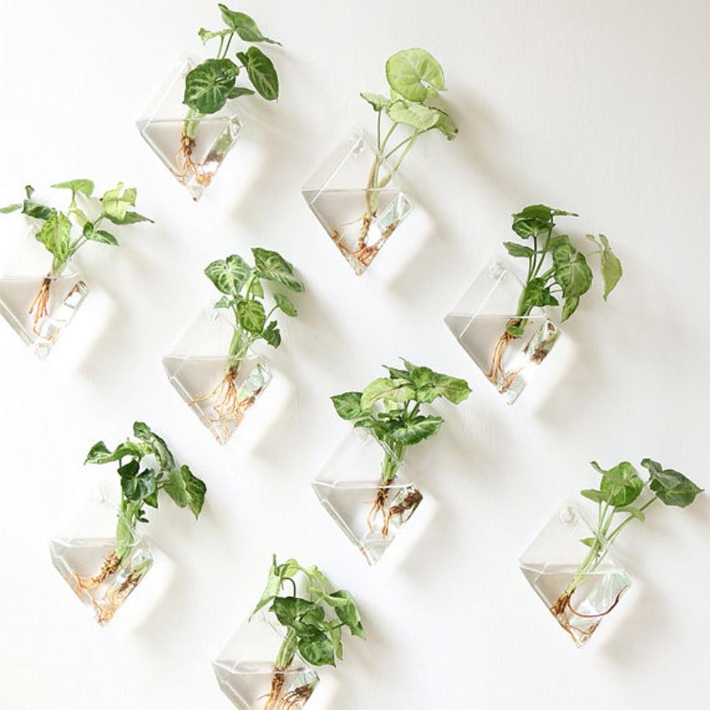 3.46US $  New Transparent Glass Wall Vase Wall Hanging Plant Terrarium Glass Planter Flower Holder V...
