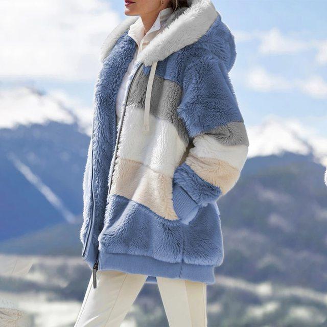 2021 Oversized Winter Women Jacket Fashion Plush Patchwork Zipper Pocket Hooded Jacket Retro Loose Long Sleeve Women's Coat 5