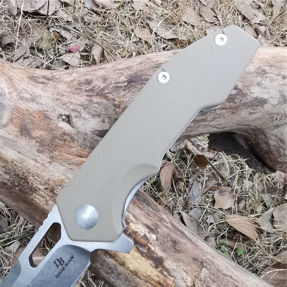 Folding Knife D2 Steel with G10 Handle Lightweight Pocket Knives EDC Good for Hunting Camping Survival
