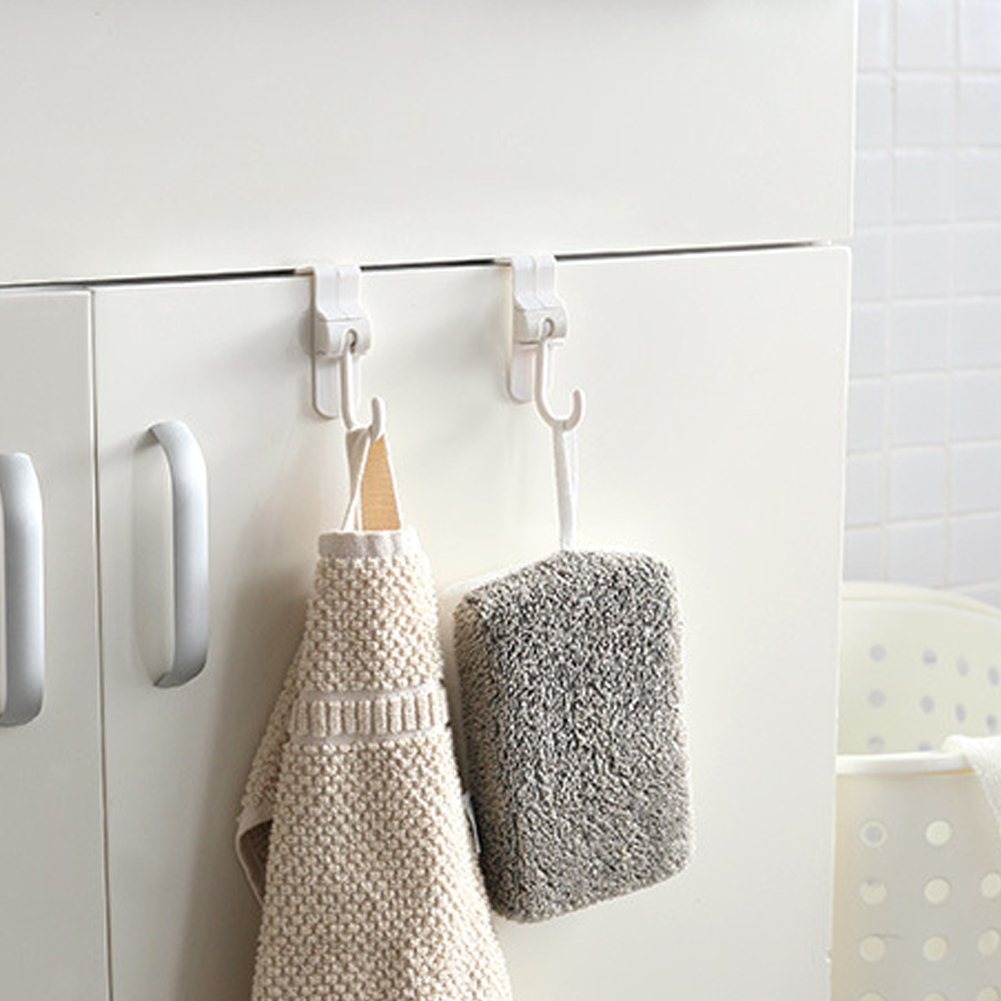 2PCS Door Hook Clothes Over Organizer Holder Home Cabinet Office Bathroom Kitchen Plastic Storage Hanging Rotatable