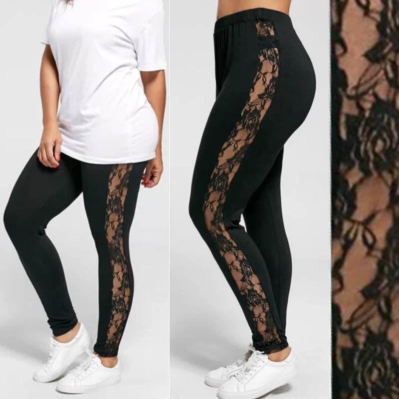 Plus Size L-3XL Sexy Women Lace Pants Black Insert Sheer Leggings Elastane Leggings