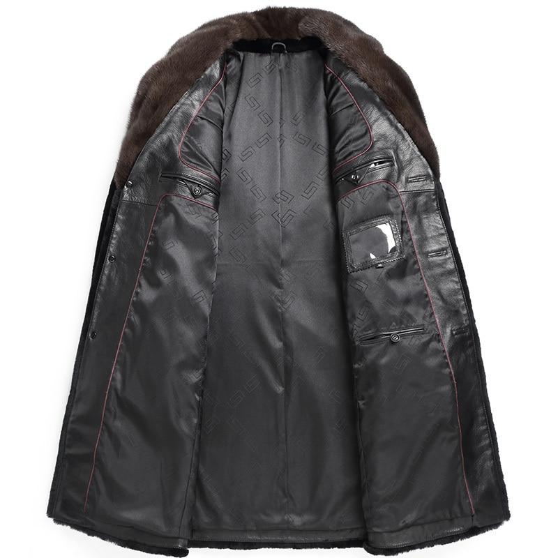 Real Sheep Shearling Fur Coat 2020 Winter Jacket Men Mink Fur Collar Long Jackets Real Wool Coats SA05 MY1437