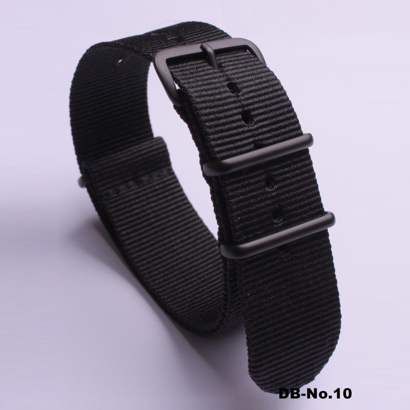 Solid Color Fashion Watch Replacement Strap Nylon NATO Strap 18mm 20mm 22mm 24mm Stainless Steel Matte Black Buckle Watch Band