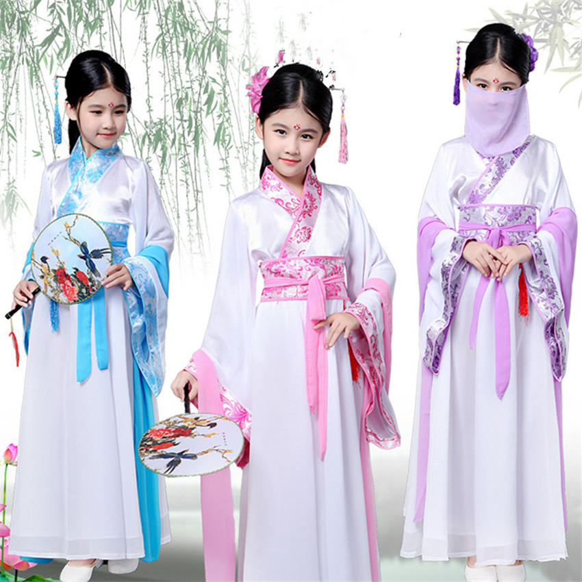 Ancient Chinese Costume Girls Stage Performance Hanfu Traditional Chinese Retro Dress Kids Oriental Folk Dance Fairy Clothes