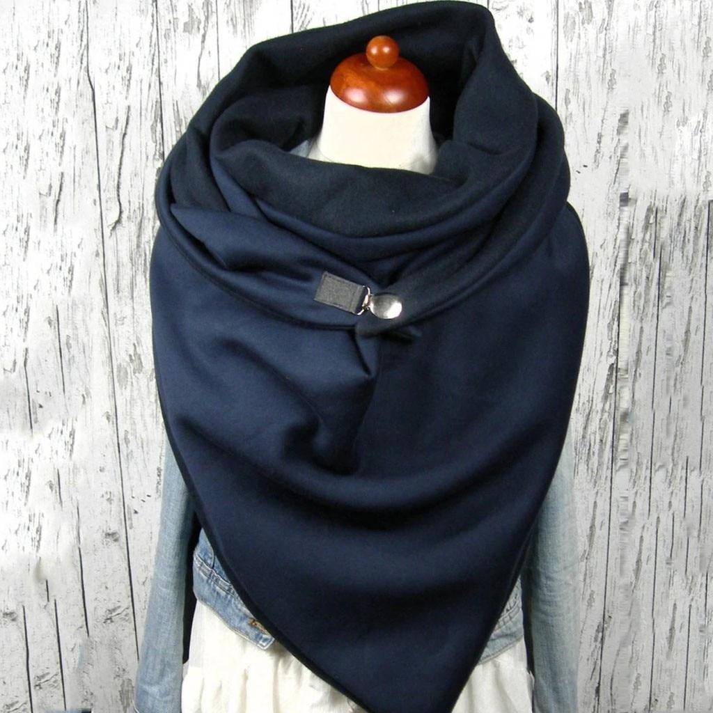 Retro Scarve Women Soild Button Soft Wrap Casual Warm Scarves Shawls шарф зимний Leisure Comfortable soft personality bandana A4
