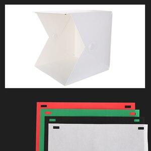 Image 4 - Baolyda Photobox iluminación 40*40 2LED Mini Lightbox Photo Studio Kit para fotografía caja de luz con 4 colores telón de fondo