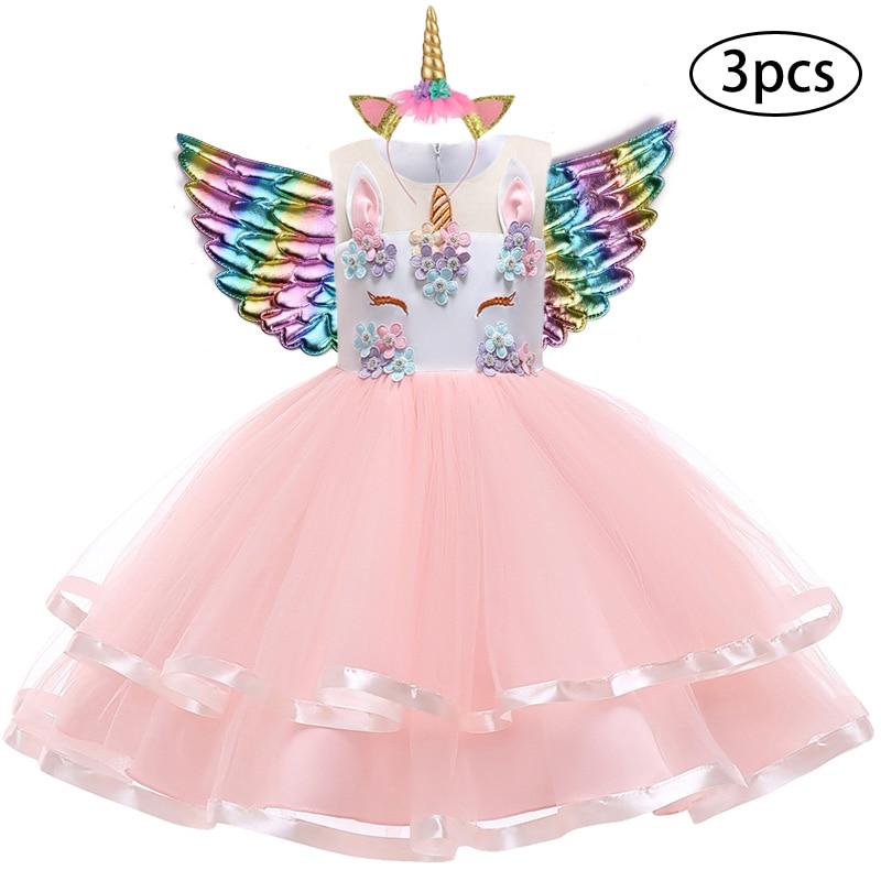 H947e9be1c0a64369a9cbf8fc9b7b51999 New Girls Dress 3Pcs Kids Dresses For Girl Unicorn Party Dress Christmas Carnival Costume Child Princess Dress 3 5 6 8 9 10 Year