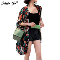 Boho Multicolor Floral Print Batwing Sleeve Kimono Cardigan Women Spring Summer 2019 Vacation Casual Bohemian Kimonos Female