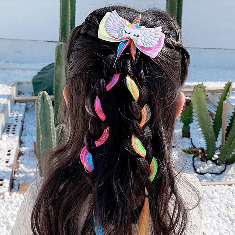 Girls Cute Colorful Wig Cartoon Unicorn Hair Clips Sweet Princess Hair Ornament Headband Hairpins Kids Fashion Hair Accessories