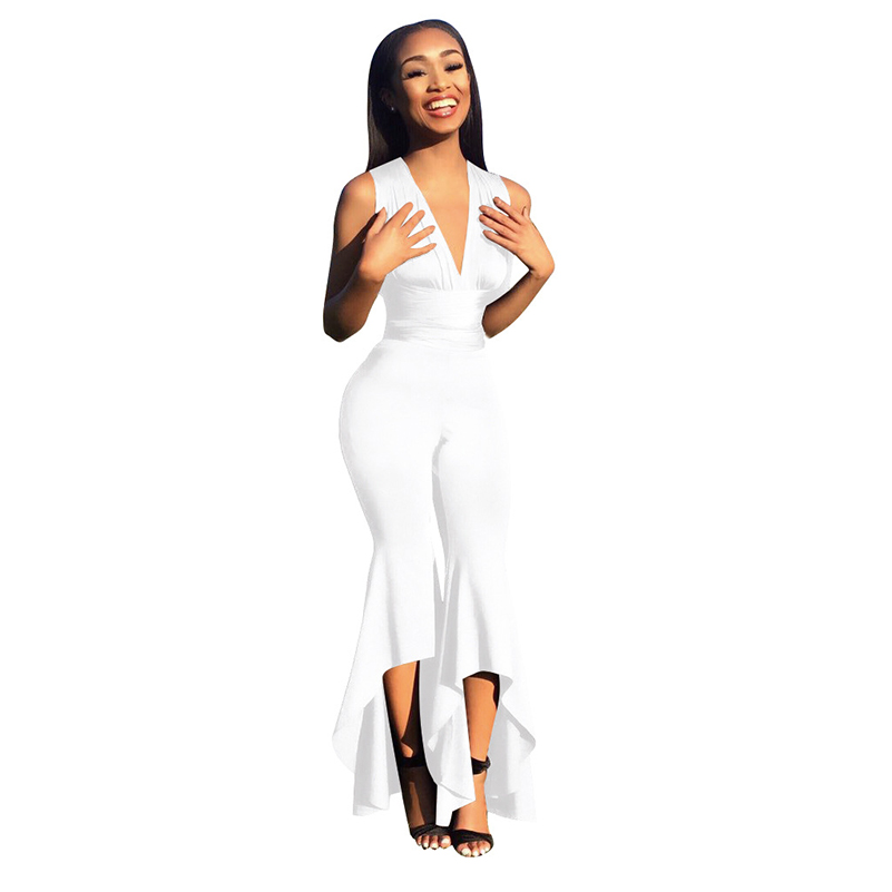 Backless Jumpsuit Solid Womens Sleeveless Bodycon Black V Neck 2020 Jumpsuit Deep Bodysuit Rompers New Summer Short Women Sexy