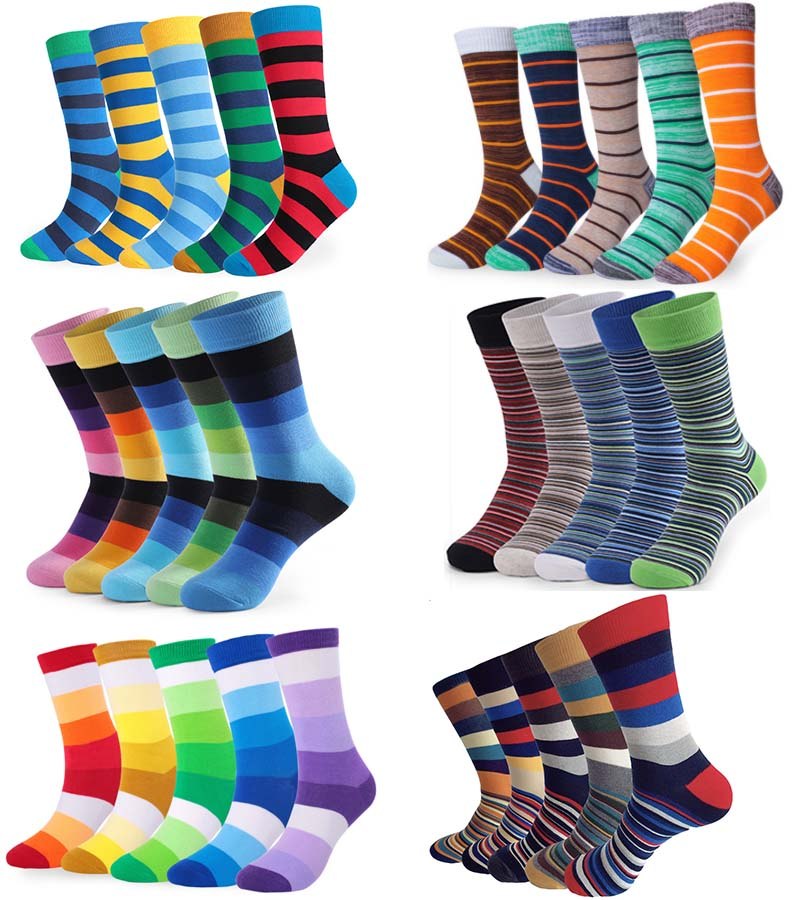 5Pairs/lot Casual Men Happy Funny Socks Fashion Stripe Colorful Business Party Dress Cotton Socks Man Large Size Crew Sock