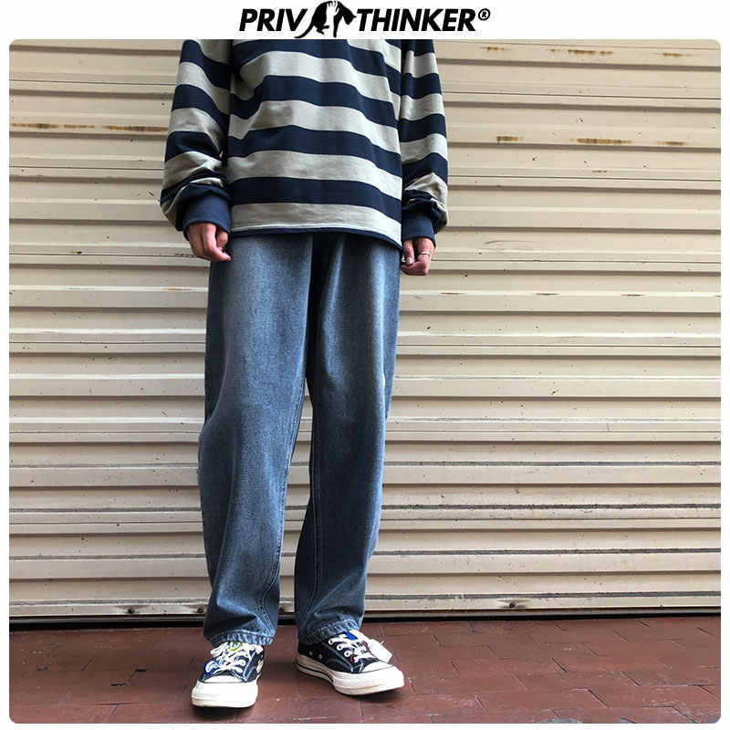 Privathinker Men Loose Hip Hop Denim Pants Mens Autumn Collage Fashion Vintage Jeans Clothes Male 2019 Blue Teen Straight Pants