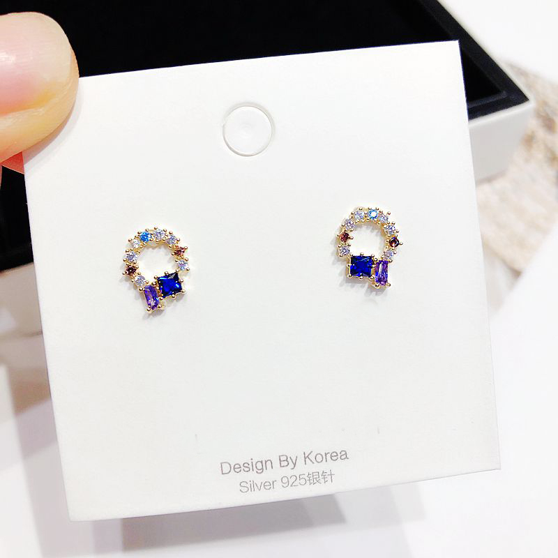 Exquisite Mixed Stones Cubic Zirconia Stud Earrings Gold Color Small CZ Crystal Earrings for Women