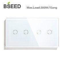 Bseed padrão da ue reino unido 4 gang 1 way interruptor de botão toque 157mm interruptor luz branco preto ouro cristal classe painel para casa