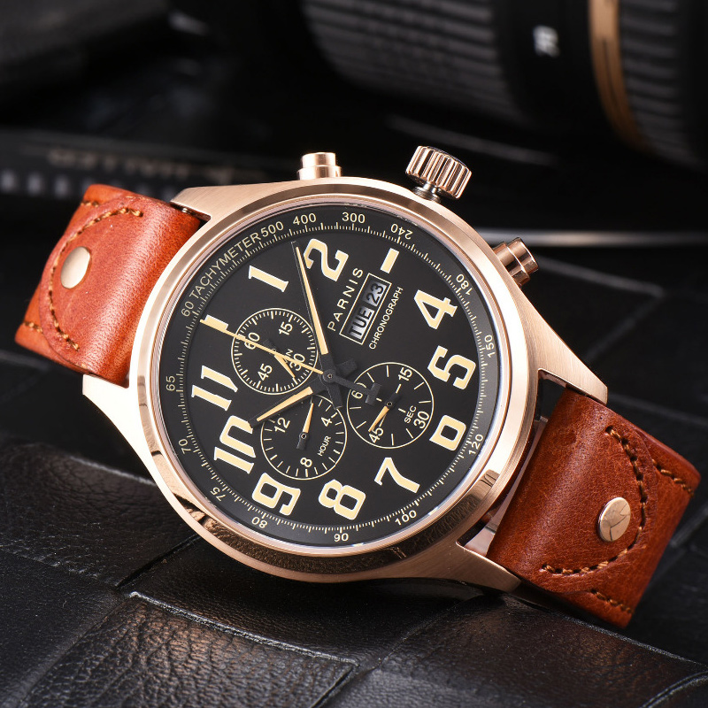 Parnis 43mm Quartz Watch Analogue Chronograph Military Pilot Watch Diving Watch <font><b>100m</b></font> Waterproof Calendar Wristwatch Mens image