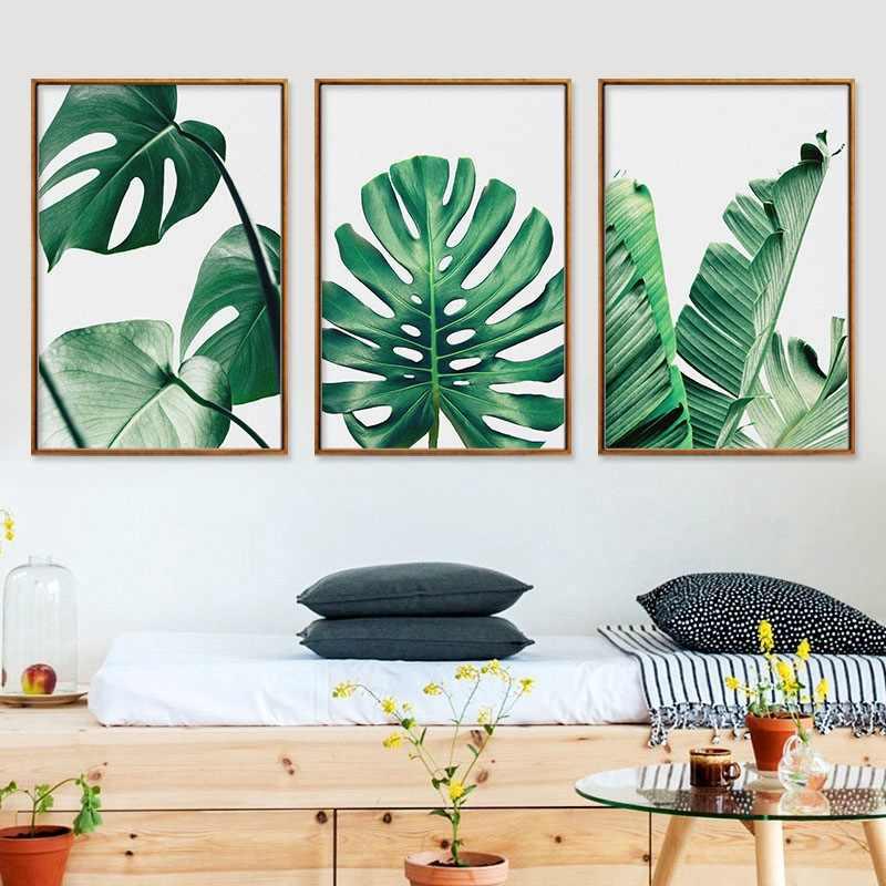 Nordic Monstera Deliciosa Groene Plant Blad Turtle Back Bamboe Canvas Schilderij Afdrukken Frameloze Muur Foto 'S Voor Woonkamer