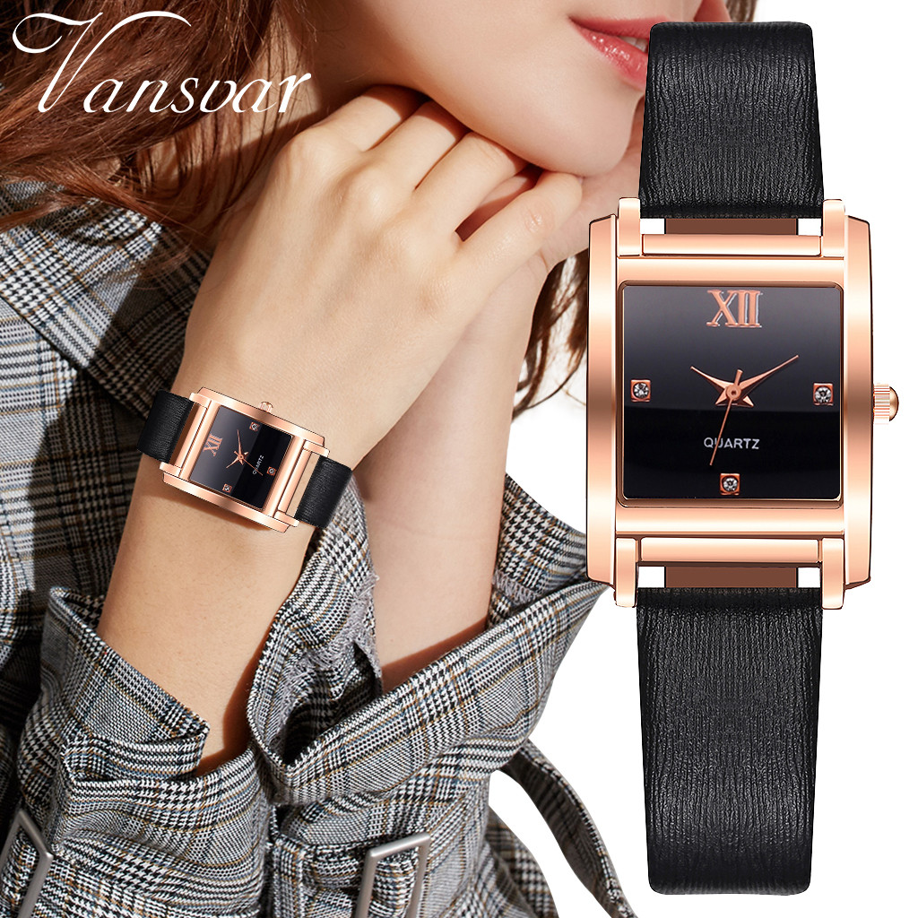 Women Watches Vansvar Female Plastic Mesh Belt Quartz Watch Alloy Case Casual Simple Square Wrist Ladies Casual Dress Clock#C