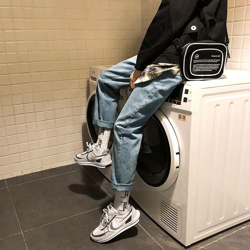 Men Jeans Straight Casual Pants Mens Japanese Streetwear Overalls Denim Pants Male Hiphop Retro Black Jeans Pants
