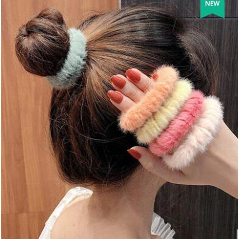 Fall Winter Hair Accessories For Women Girls 2-4pcs Mink Hair Ties Scrunchies Kids Children Plush Elastic Hair Bands Rope 2 Size