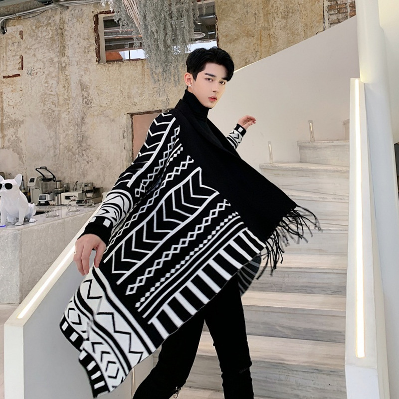 Male Japan Streetwear Jacket Outerwear Men Long Sleeve Geometric Pattern Tassel No Button Knitted Cardigan Sweater Coat