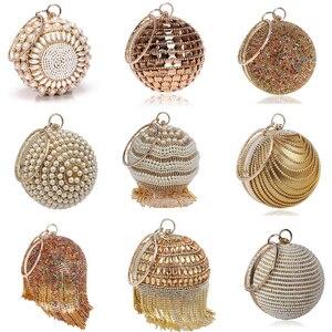 SEKUSA Ball Diamond Tassel Women Party Metal Crystal Clutches Evening Wedding Bag Bridal Shoulder Handbag Wristlets Clutch