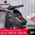ROCKBROS велосипедная сумка Водонепроницаемый сенсорный Экран велосипедная сумка Топ, крепится на переднюю трубу рамы MTB дорожный велосипед су...