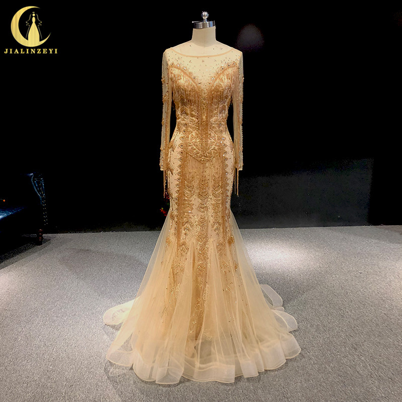 Rhine real Pictures Long Sleeves Champagne Beads Crystal Mermaid Sexy Luxurious back arabic evening dresses long
