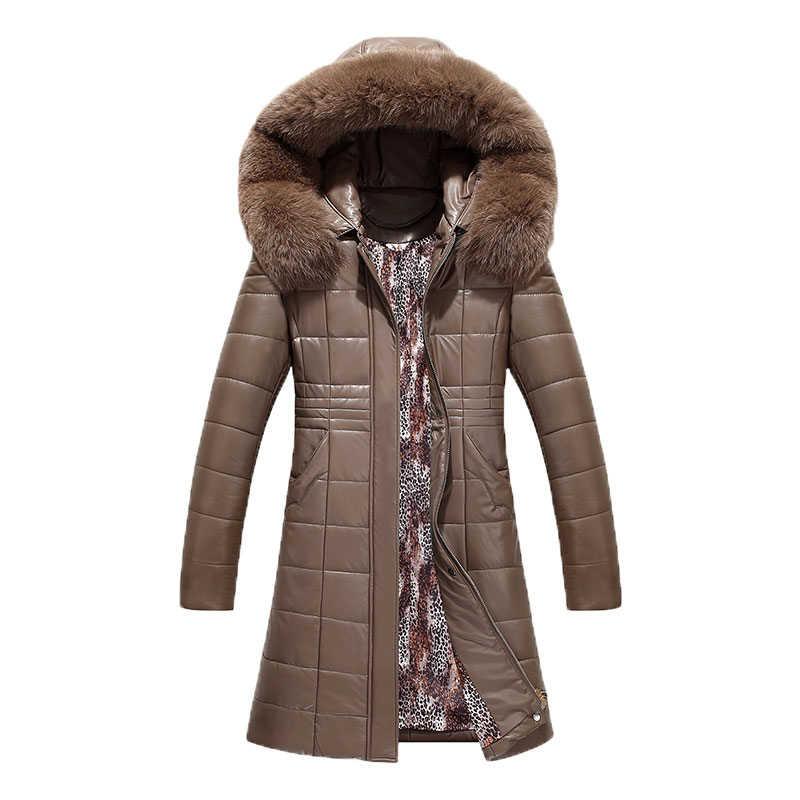 プラスサイズの女性ロング革コート冬 2019 母シープスキンのコート厚く付きジャケット上着女性