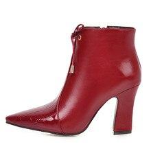 بو أحذية من الجلد النساء حذاء من الجلد الخريف موضة عالية الكعب الأحذية الإناث أشار تو الأبيض الأحمر الشتاء أحذية قصيرة التمهيد حجم كبير