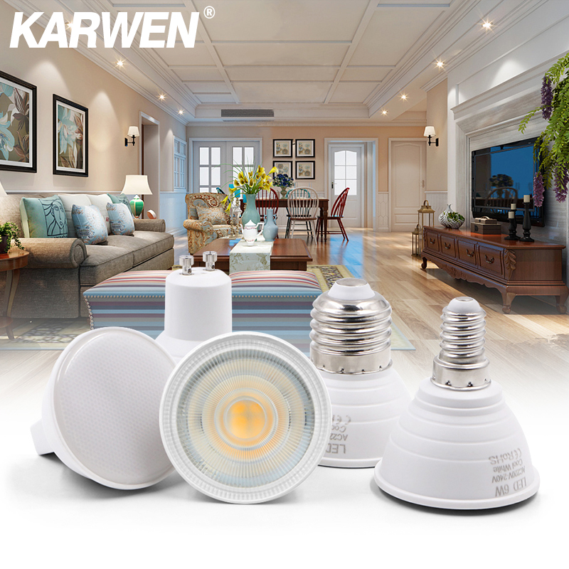 KARWEN Lampada LED Lamp 6W GU10 GU5.3 MR16 E27 E14 LED Bulb 220V Bombillas LED Spotlight Lampara Spot Light For Living Room