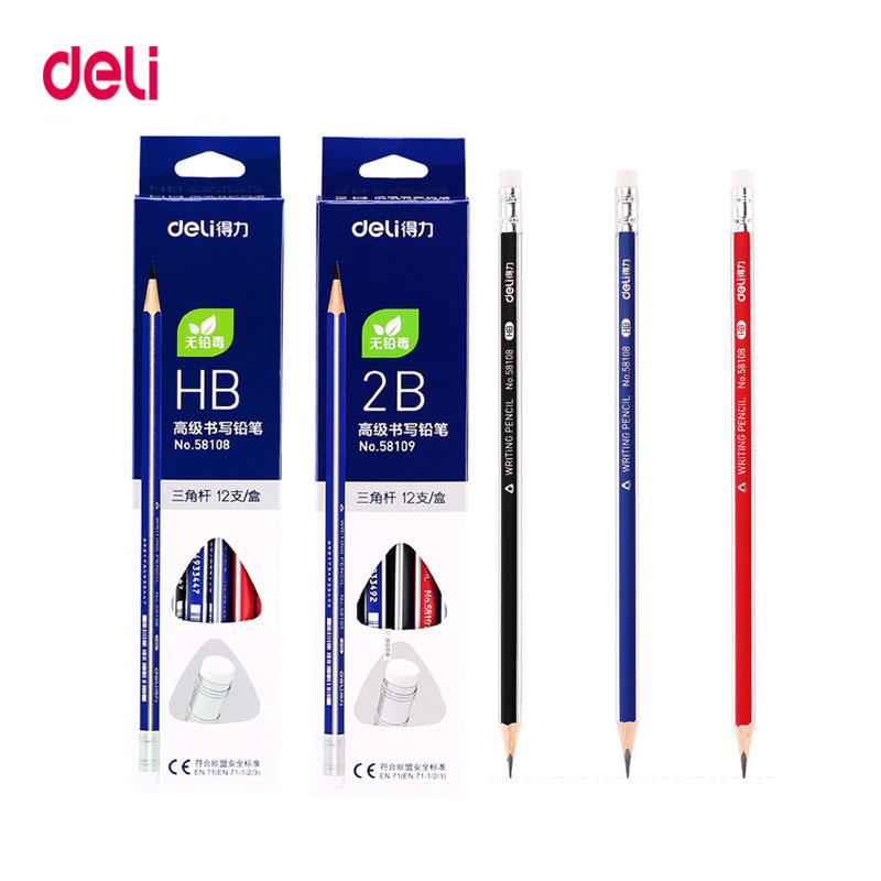 Deli Standard Pencils 12Pcs/set HB2B Triangle Pencils With Eraser For Child Learn To Write Comfortably School Writing Stationery