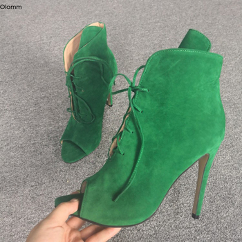 Olomm New Fashion Women Summer Ankle Boots Sexy Thin High Heels Boots Peep Toe Ladies Green Casual Shoes Women Plus US Size 5-15