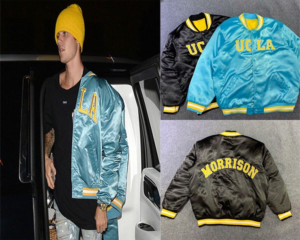 Justin Bieber Jacket 100% Cotton  Satin Starter Bomber Jacket Men Women 1:1 High Quality Jacket Chaqueta Hombre Men Jacket
