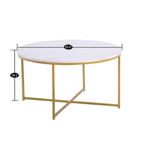 Marble Round Coffee Table 90cm * 90cm * 48.5cm White 4