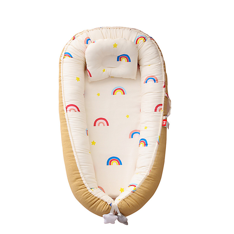 Portable Baby Nest Bed with Pillow Cushion Newborn Outdoor Travel Bed Foldable Infant Breathable Crib Nest YHM058