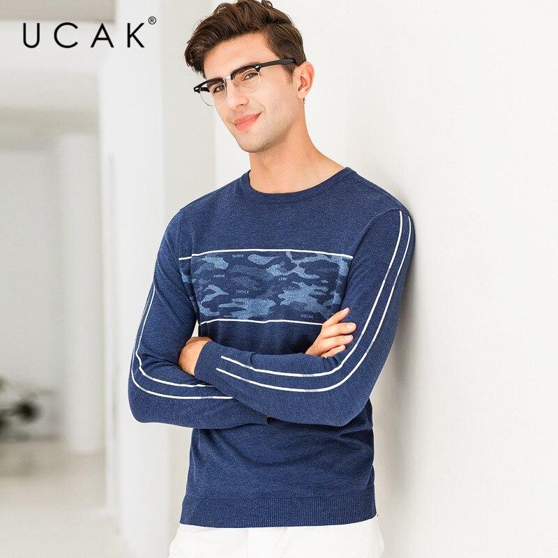 UCAK Brand Sweater Men Fashion Pattern O-Neck Pull Homme Knitwear Pullover Men Autumn Winter Cotton Sweaters Jersey Hombre U1003
