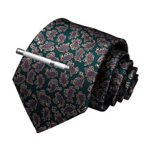 New Designer Quality Men Necktie Green Red Paisley Silk Wedding Tie For DiBanGu Hanky Cufflink Clip Set Dropshipping MJ-7211