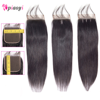 Piaoyi Brazilian Straight Hair 4x4 Lace Closure Remy 100% Human Hair Closure With Baby Hair Free/Middle/Three Part Lace Closure