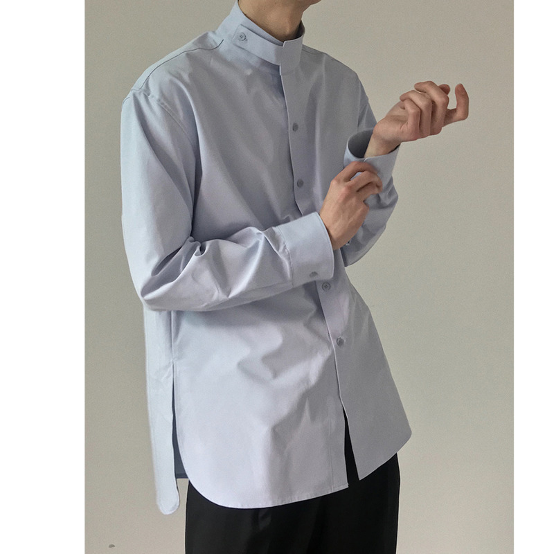 IEFB /men's wear loose korean trendy stand collar long sleeve shirts vent hme loose casual all-match white tops 2020 new 9Y1480 4