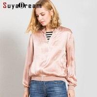 SuyaDream Women Silk Jacket 19mm 100%Silk Satin Pink Solid Zipper Placket Jackets 2019 Autumn Winter Outer Wear