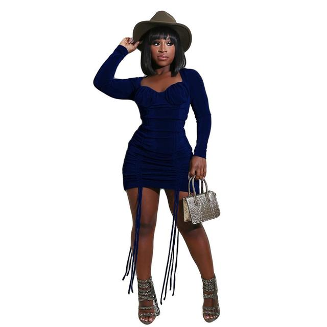 Drawstring Pleated Solid Color Velvet Square Neck Long Sleeves Bodycon Dress New Arrival Autumn Sexy Women Outfits 6