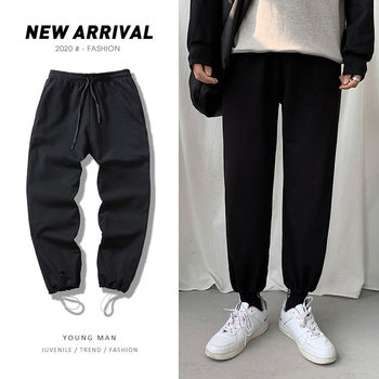 Cotton Sweatpants Men's Fashion Joggers Track Pants Solid Color Casual Pants Men Streetwear Hip-hop Loose Straight Trousers Mens autumn new joggers pants men fashion contrast color casual sweatpants men streetwear loose hip hop trousers man track pants