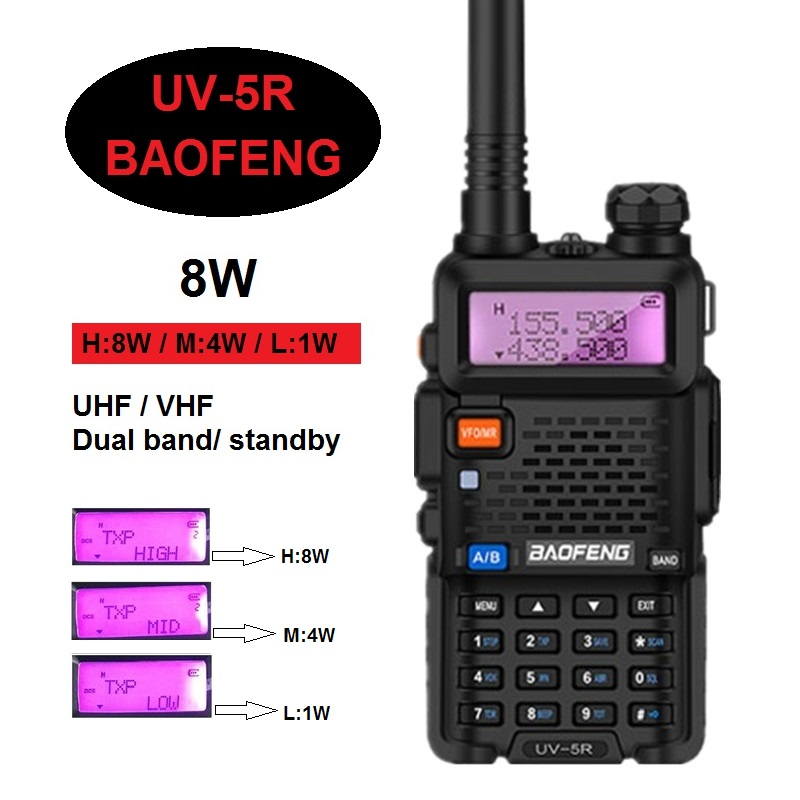8W/4W/1W BAOFENG UV-5R Walkie Talkie Radio 10KM VHF UHF CB Ham Fishing Radio Transceiver UV 5R 8W Transmitter Receiver Powerful