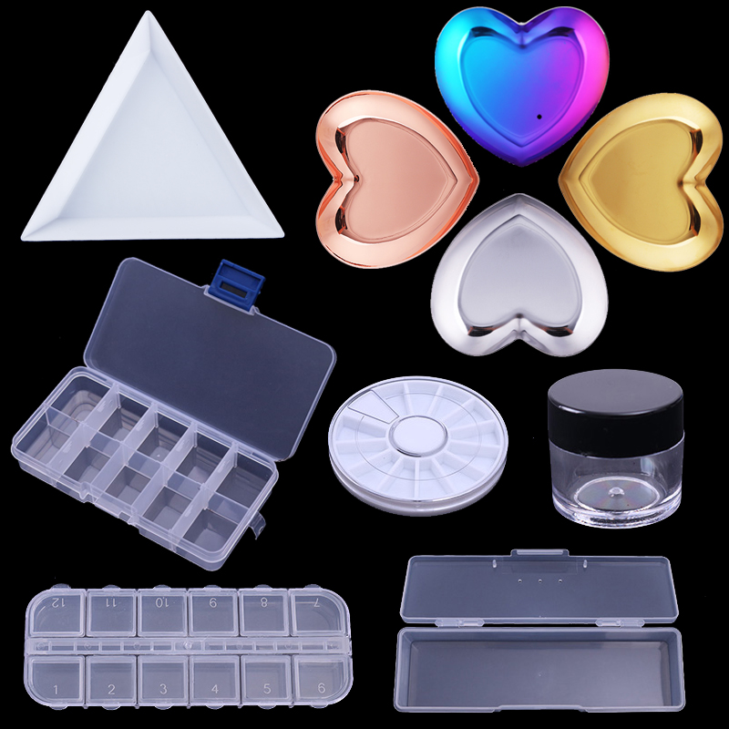 1Pc Plastic Triangular Rhinestone Gems Accessories Nail Tips Decorations Container Cap Nail Art Tool Empty Box Storage Case