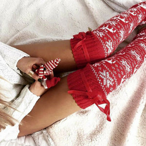 New Christmas Women's Long Knitted Stockings For Girls Ladies Women Winter Knit Socks Thigh High Over The Knee Socks