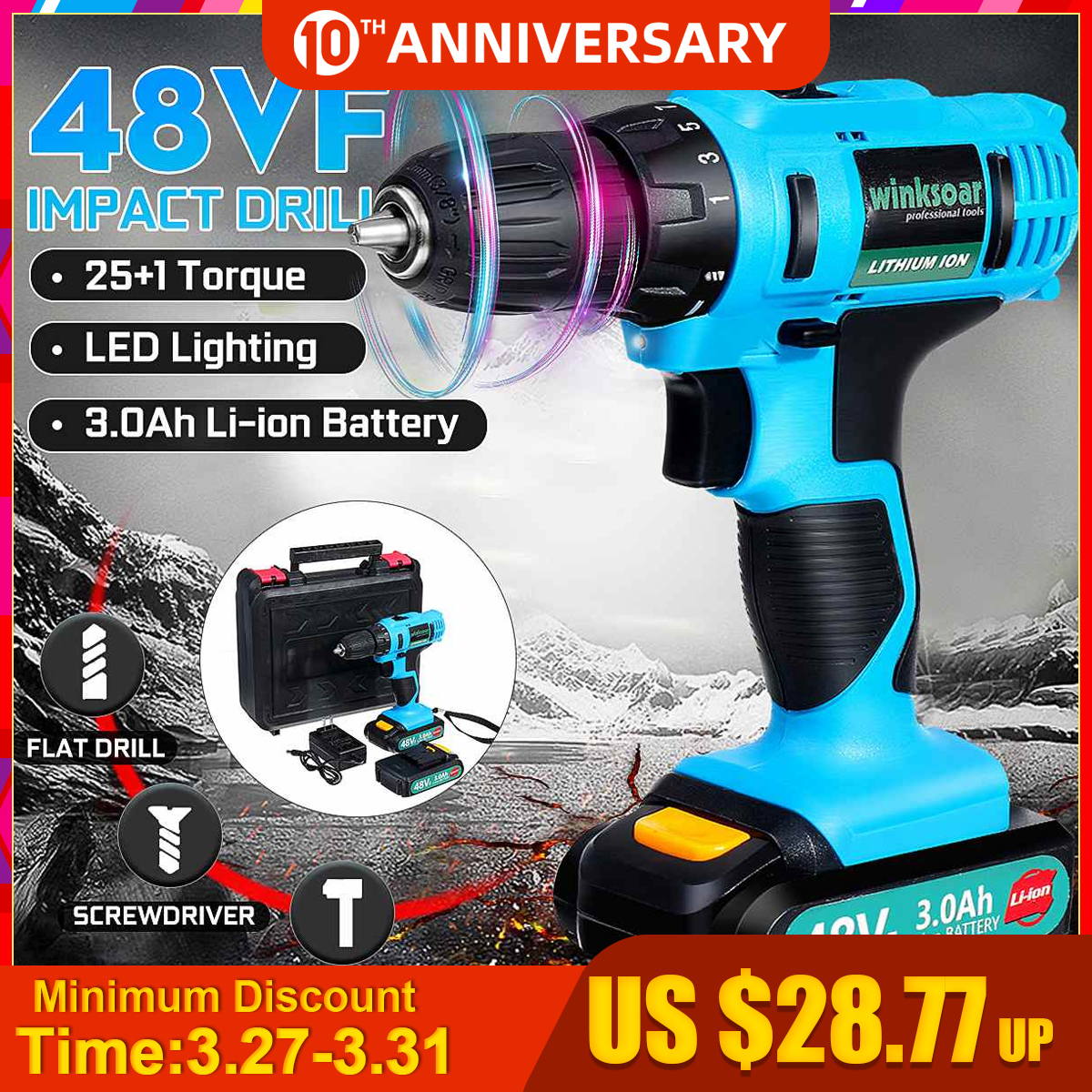 48VF 21V Electric Drill Househeld Cordless Screwdriver 3.0Ah Lithium Battery Rechargeable Impact Drill Power Tool 2 Speed