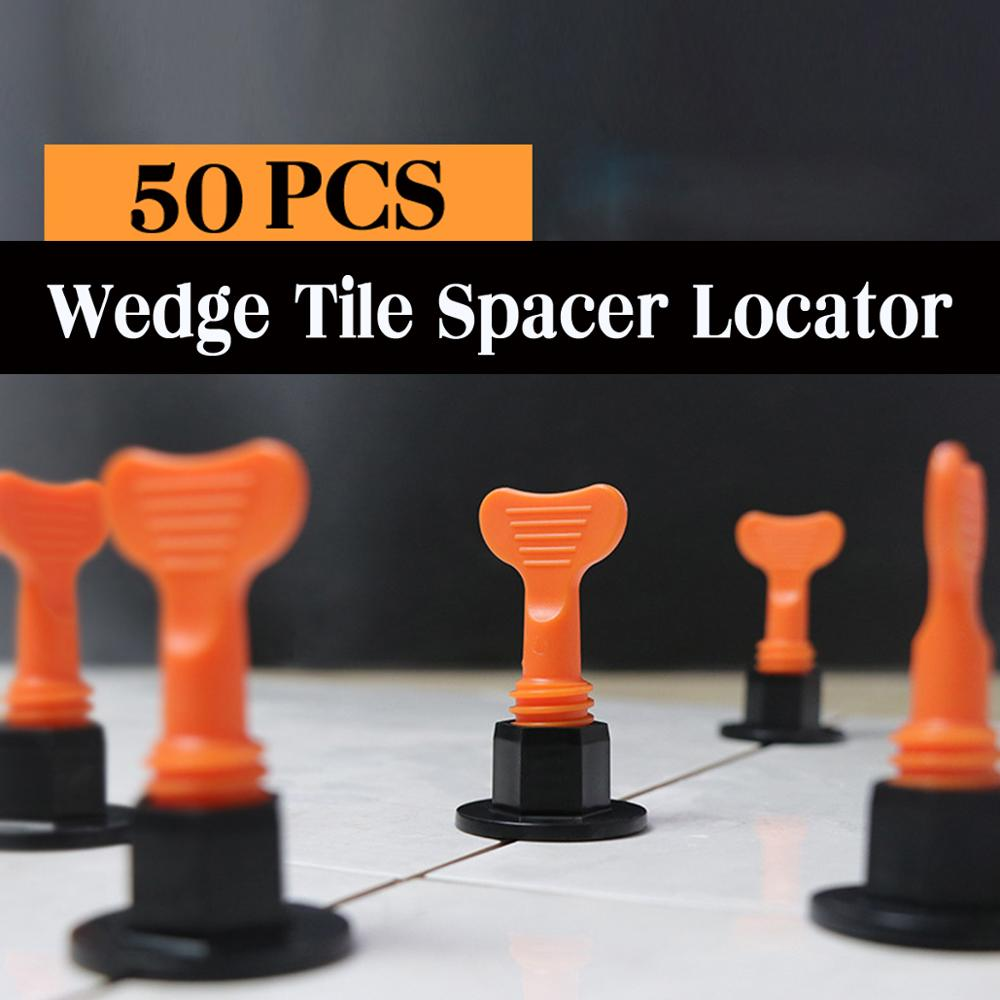 50Pcs/Set Alignment Tile Leveling Wedges Tile Spacers System Flat Ceramic Leveler For Floor Wall Construction Tools Locator