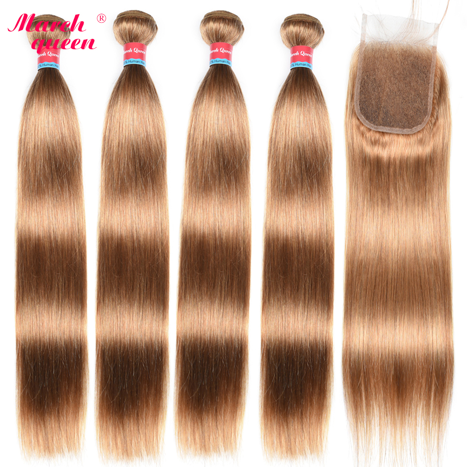 March Queen Brazilian Hair Straight 4 Bundles With 4X4 Lace Closure #27 Honey Blonde Human Hair Weave Double Weft Extensions